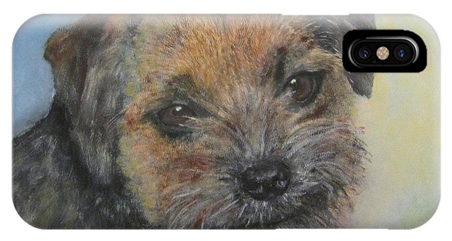 Dog IPhone X Case featuring the painting Border Terrier Jack by Richard James Digance