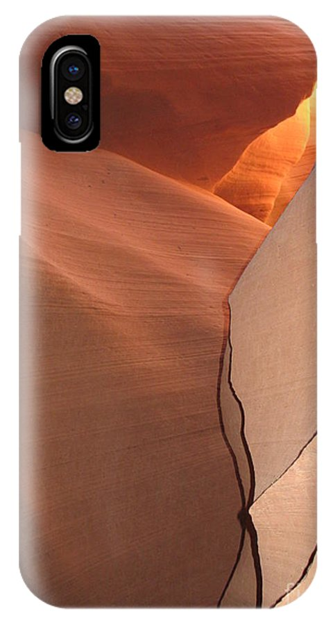 Narrow Canyon IPhone X Case featuring the photograph Bordered Rock - Antelope Canyon by Christiane Schulze Art And Photography