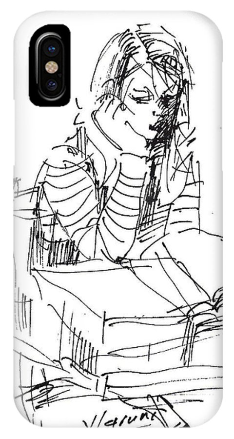 Girl Studying IPhone X Case featuring the drawing Bored by Ylli Haruni