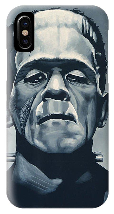 Frankenstein IPhone X Case featuring the painting Boris Karloff as Frankenstein by Paul Meijering