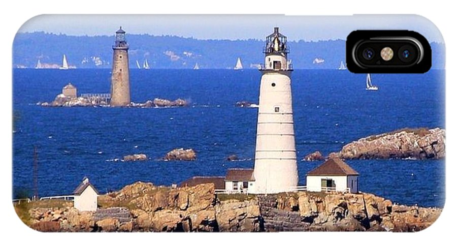 Boston Light IPhone X Case featuring the photograph Boston And Graves Light by Patricia Abbate