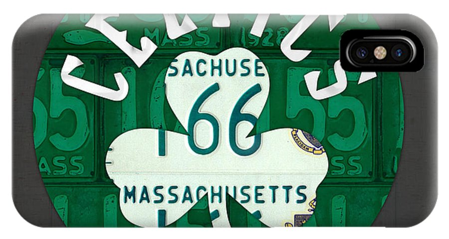 Boston IPhone X Case featuring the mixed media Boston Celtics Basketball Team Retro Logo Vintage Recycled Massachusetts License Plate Art by Design Turnpike