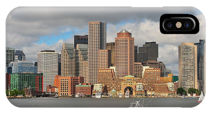 Boston Harbor Summer New England Massachusetts Beantown Nautical Speedboats Fishing Swimming Fun Family Vacation Skyscrappers Water Bay Waterfront Pier Piers Docks Dock Docked Busy Clouds Cloudy City Capital Urban Hub IPhone X Case featuring the photograph Boston Harbor by Catherine Reusch Daley