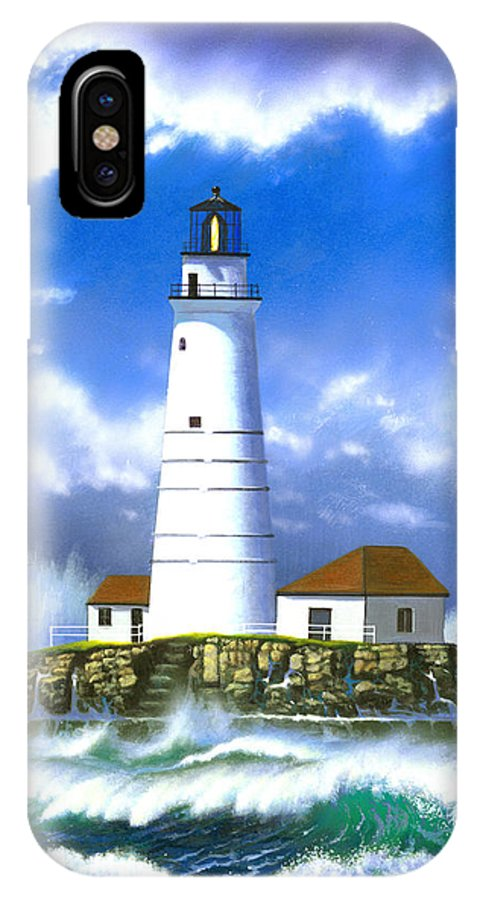 Architecture IPhone X Case featuring the photograph Boston Light by MGL Studio - Chris Hiett