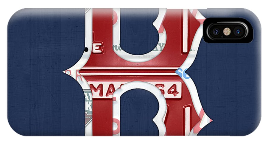 Boston IPhone X Case featuring the mixed media Boston Red Sox Logo Letter B Baseball Team Vintage License Plate Art by Design Turnpike