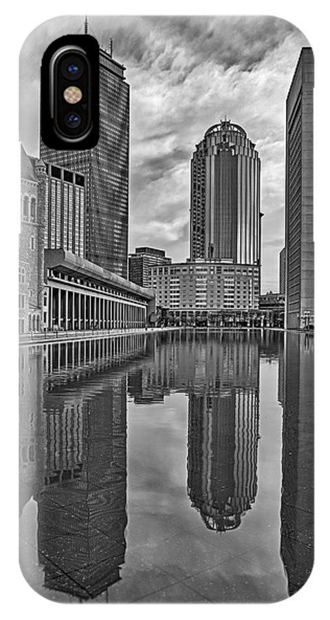 Boston IPhone X Case featuring the photograph Boston Reflections Bw by Susan Candelario