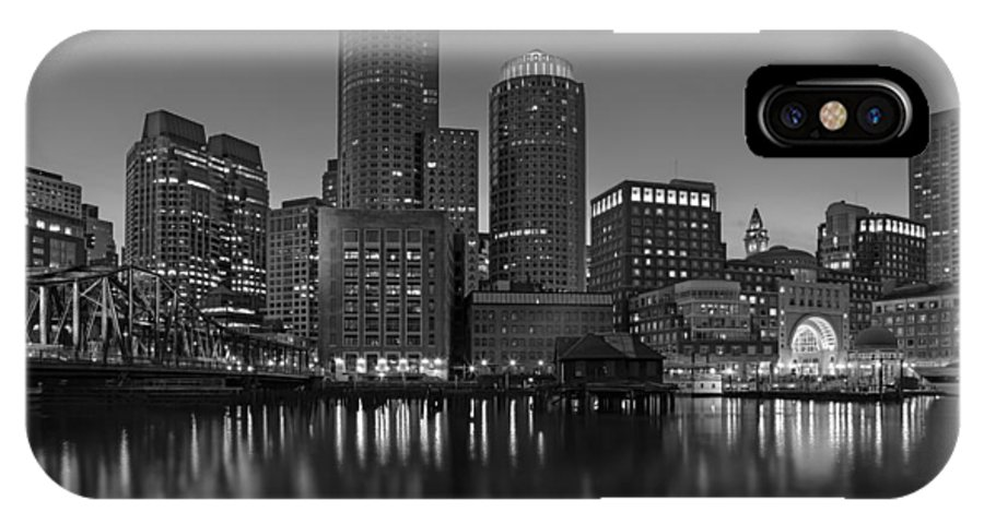 Boston IPhone X Case featuring the photograph Boston Skyline Seaport District Bw by Susan Candelario
