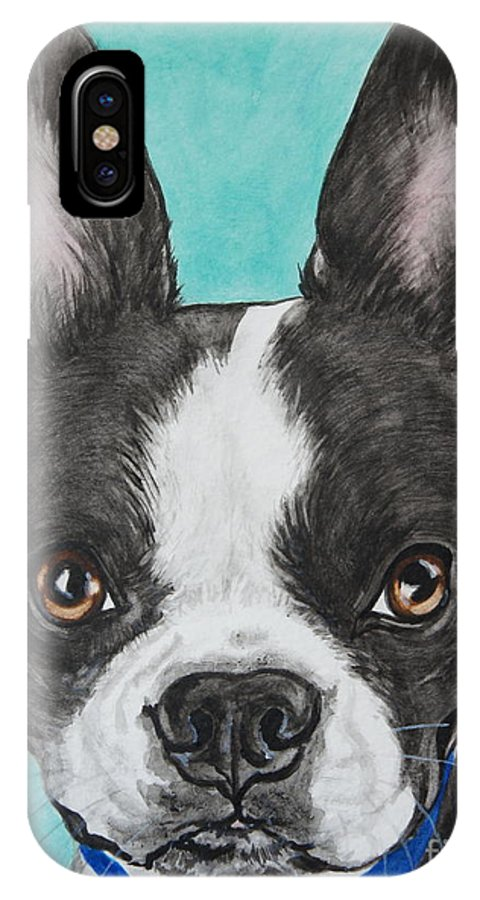 Boston Terrier IPhone X Case featuring the painting Boston Terrier by Megan Cohen