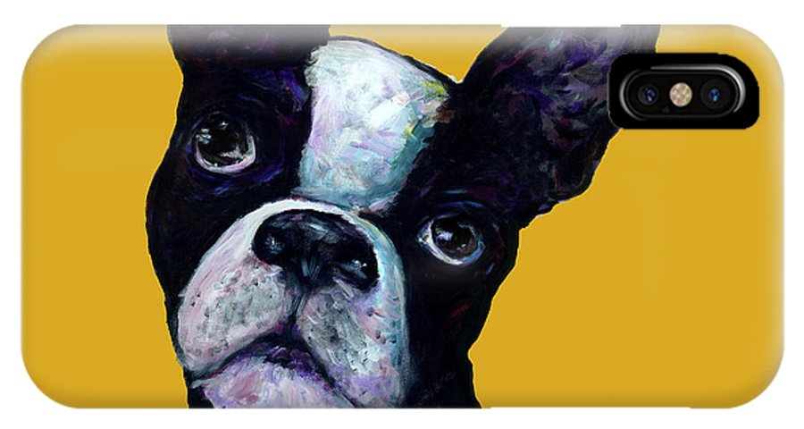 Boston Terrier IPhone X Case featuring the painting Boston Terrier On Yellow by Dale Moses