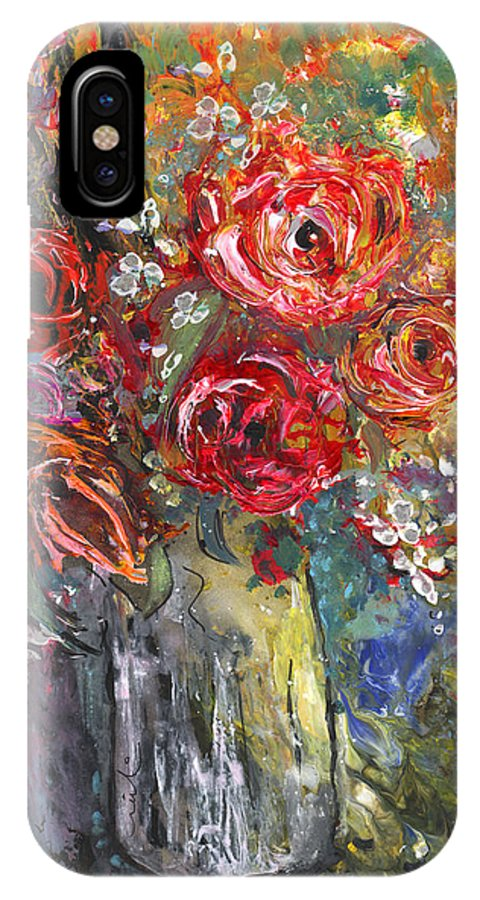 Floral IPhone X Case featuring the painting Bouquet De Chez Moi 04 by Miki De Goodaboom