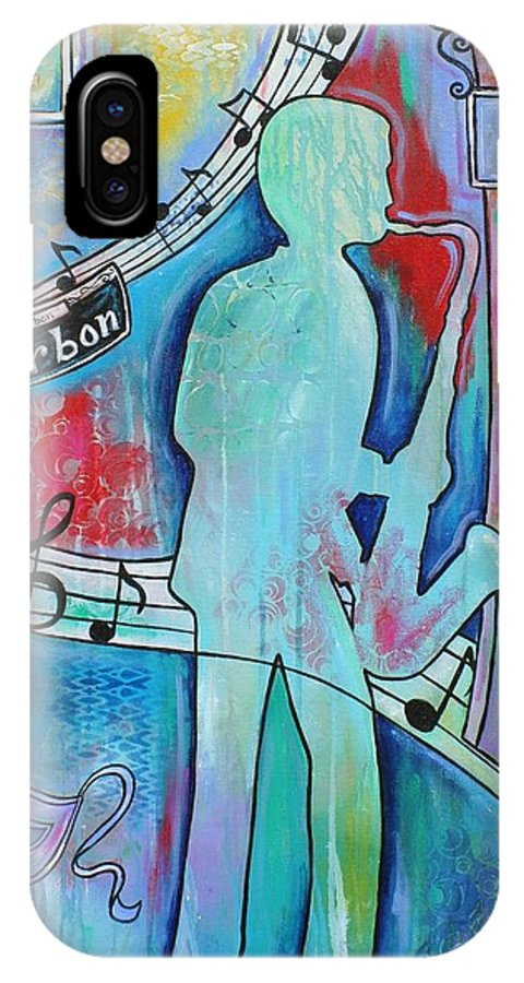 Bourbon Street IPhone X Case featuring the painting Bourbon Street Blues by Melanie Douthit