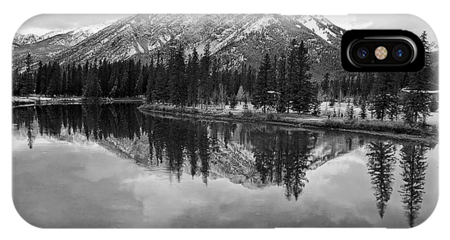 Bow River IPhone X Case featuring the digital art Bow River Banff Alberta by Diane Dugas