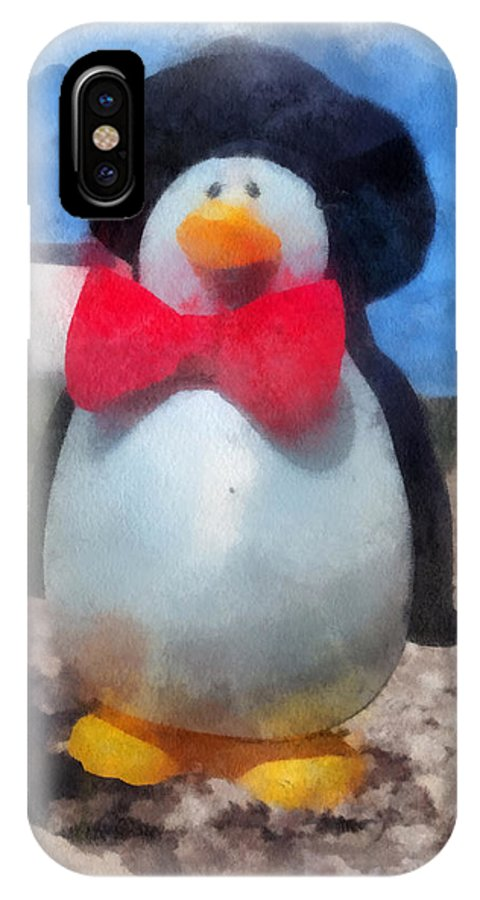 Penguin IPhone X Case featuring the photograph Bow Tie Penguin Photo Art by Thomas Woolworth