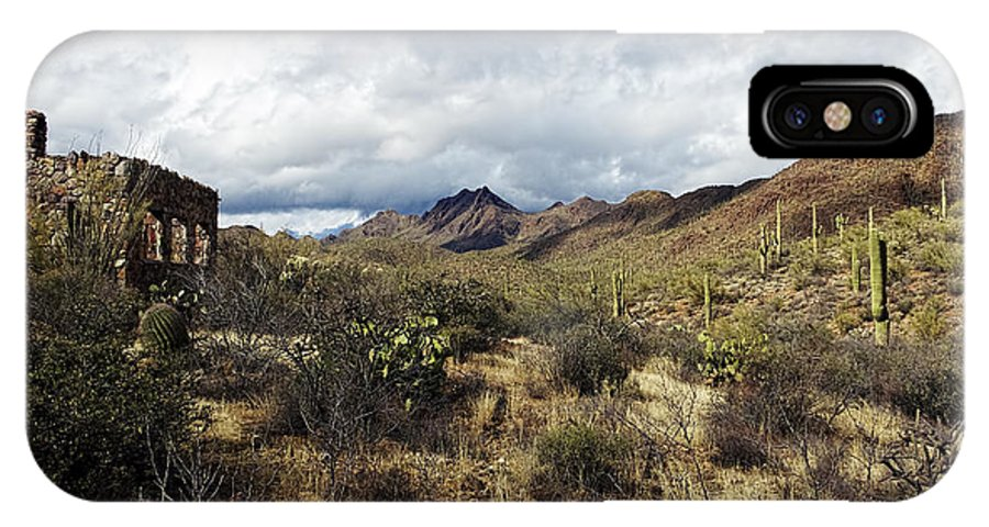 Arizona IPhone X Case featuring the photograph Bowen Homestead Ruins by Phill Doherty