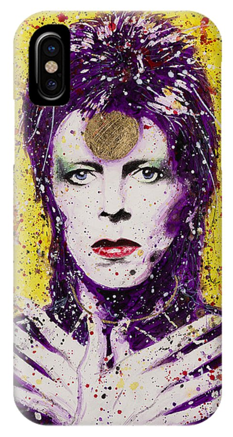 David IPhone X Case featuring the painting Bowie by Chris Mackie
