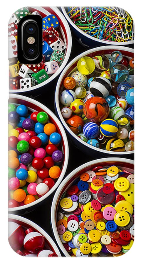 Bowls IPhone X Case featuring the photograph Bowls Of Buttons And Marbles by Garry Gay