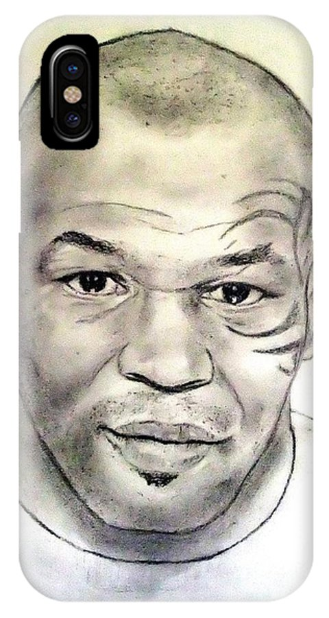 Drawing IPhone X Case featuring the drawing Boxer And Actor Mike Tyson by Jim Fitzpatrick