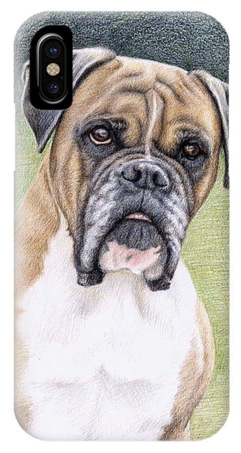 Dog IPhone Case featuring the drawing Boxer Portrait by Nicole Zeug