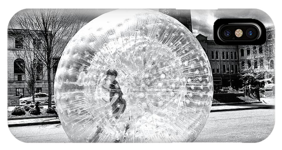 Black And White IPhone X Case featuring the photograph Boy In Ball by Mark Block