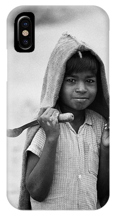 Boy With Sickle And Jute Raincoat Mysore Karnataka India Asia 1977 IPhone X Case featuring the photograph Boy With Sickle by Jagdish Agarwal