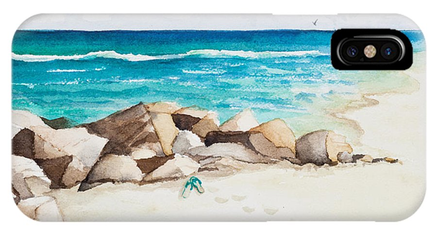 Beach IPhone X Case featuring the painting Boynton Beach Inlet Watercolor by Michelle Wiarda-Constantine