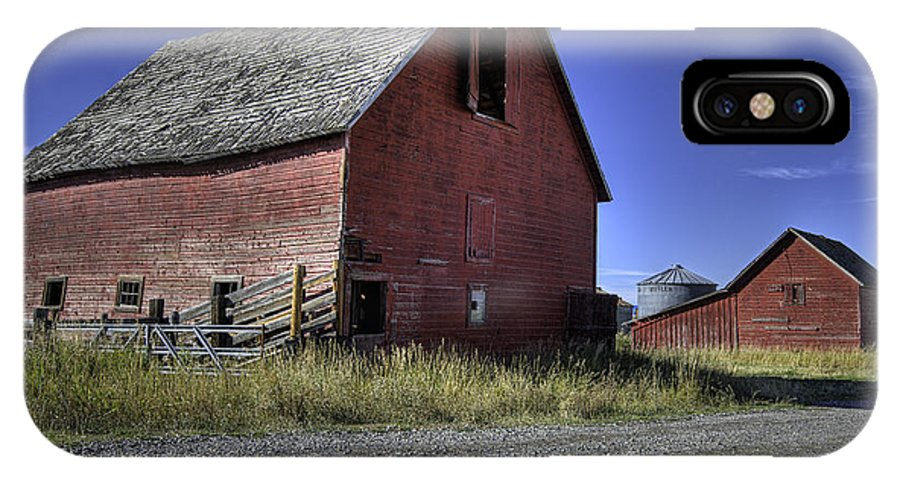 Red Barn IPhone X Case featuring the photograph Bozeman Barn by Mark Harrington
