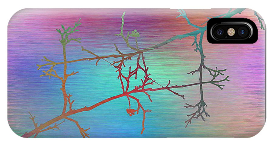 Abstract IPhone X / XS Case featuring the digital art Branches In The Mist 60 by Tim Allen