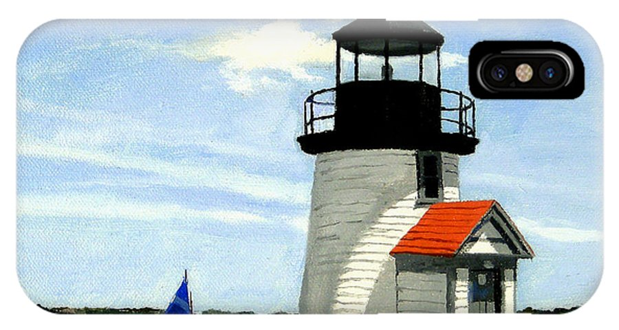 Christine Hopkins IPhone X Case featuring the painting Brant Point Lighthouse Nantucket Massachusetts by Christine Hopkins