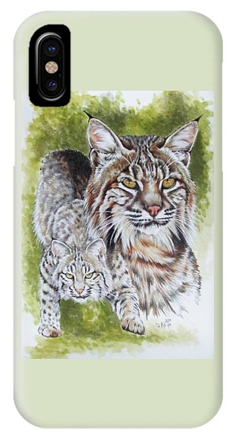Small Cat IPhone X Case featuring the mixed media Brassy by Barbara Keith