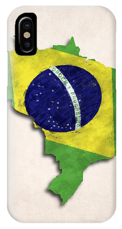 Brazil IPhone X Case featuring the digital art Brazil Map Art With Flag Design by World Art Prints And Designs