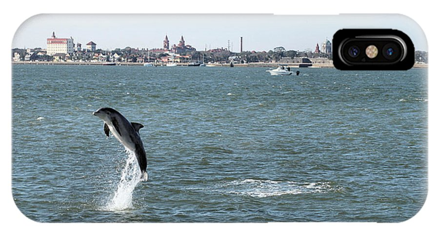 Dolphin Ocean Porpoise Saint Augustine Playing Jumping Breaching Atlantic Bottlenose Florida IPhone X Case featuring the photograph Breaching Dolphin by Nikki Brubaker