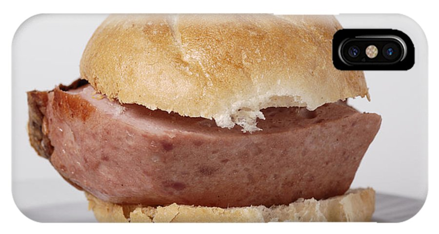 Food IPhone X Case featuring the photograph Bread Roll With Thick Slice Leberkaese - German Food by Matthias Hauser