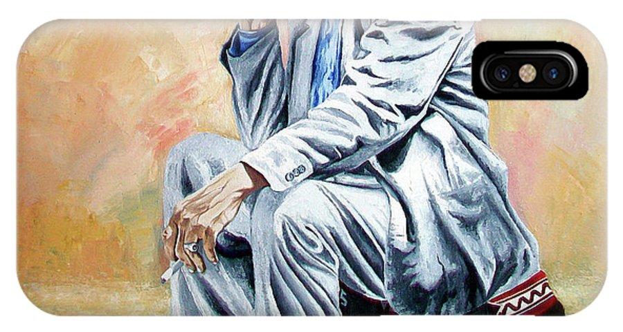 Figurative IPhone X Case featuring the painting Break For Smoking - Apeadero Para Fumar by Rezzan Erguvan-Onal