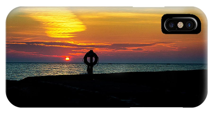 Ludington IPhone X Case featuring the photograph Breakwall Sunset by Randall Cogle
