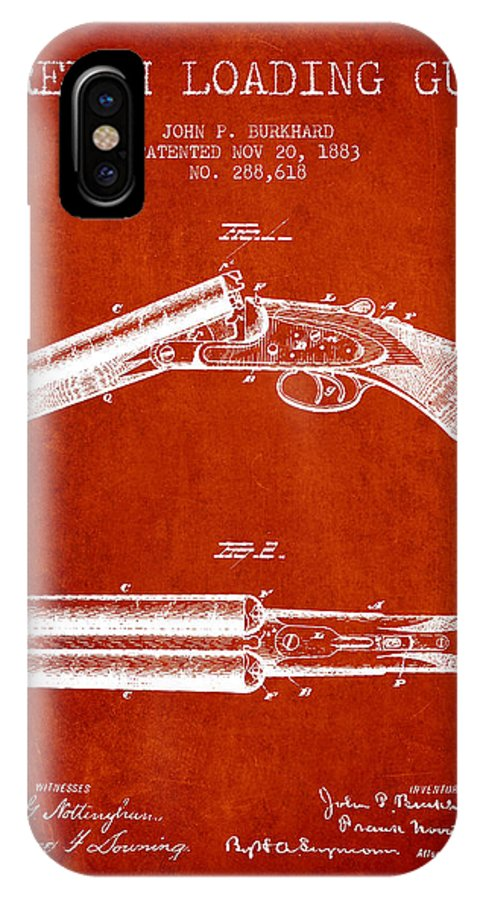 Rifle Patent IPhone X / XS Case featuring the digital art Breech Loading Gun Patent Drawing From 1883 - Red by Aged Pixel