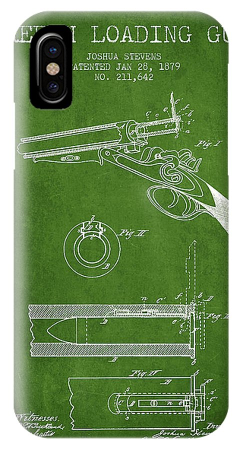 Rifle Patent IPhone X / XS Case featuring the digital art Breech Loading Shotgun Patent Drawing From 1879 - Green by Aged Pixel