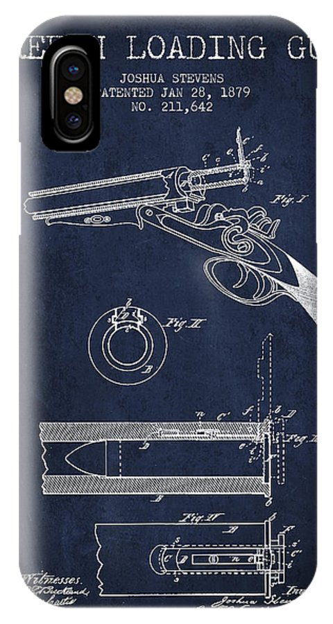 Rifle Patent IPhone X / XS Case featuring the digital art Breech Loading Shotgun Patent Drawing From 1879 - Navy Blue by Aged Pixel
