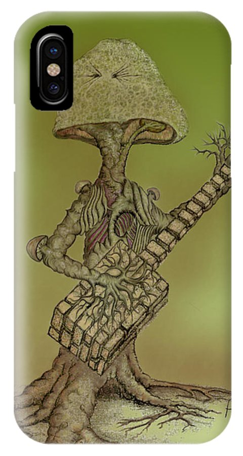 Fantasy IPhone X Case featuring the drawing Brick Shroom by Phil Rushton