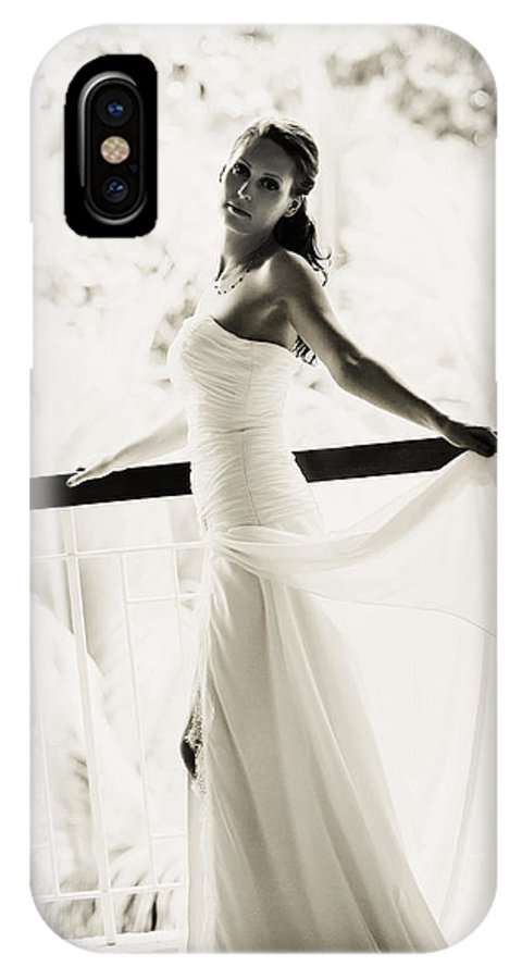 Marriage IPhone X Case featuring the photograph Bride At The Balcony. Black And White by Jenny Rainbow