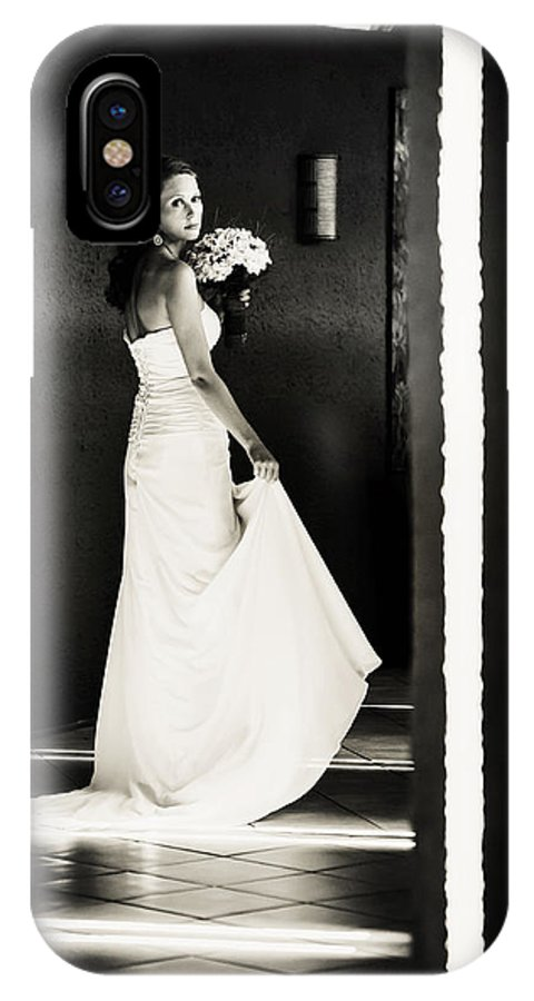 Marriage IPhone X Case featuring the photograph Bride I. Black And White by Jenny Rainbow