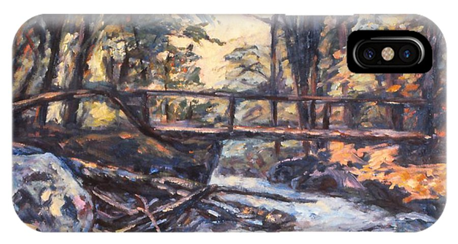 Creek IPhone X Case featuring the painting Morning Bridge In Woods by Kendall Kessler