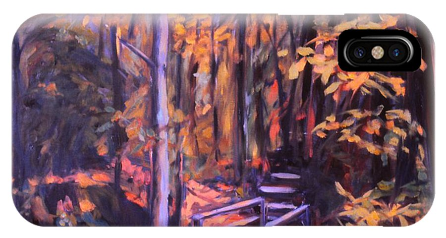 Woods IPhone X Case featuring the painting Bridge In Woods Near Pandapas by Kendall Kessler