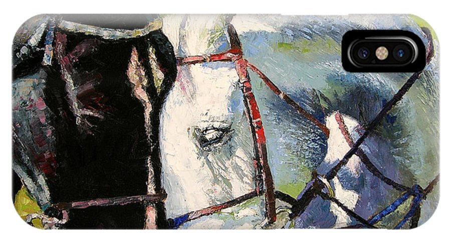 Horses IPhone X Case featuring the painting Bridled Love by John Lautermilch