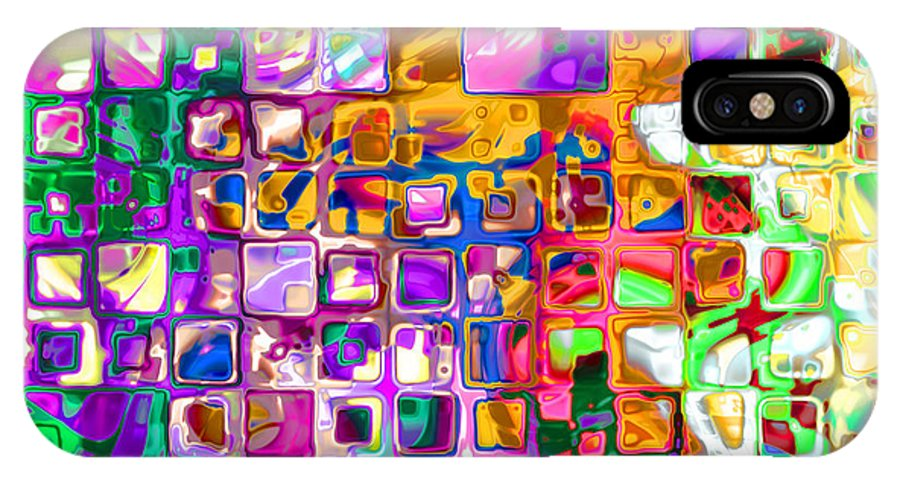 Abstract IPhone X Case featuring the digital art Bright Boxes I by Debbie Portwood