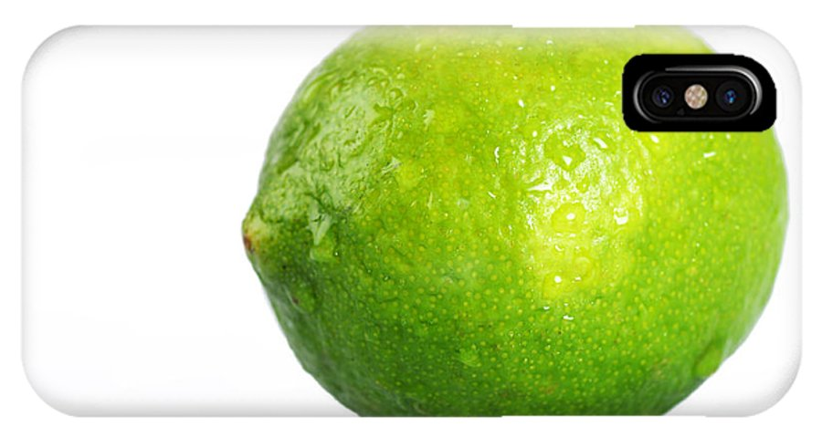Lime IPhone X Case featuring the photograph Bright Green Wet Lime Over White by Sylvie Bouchard