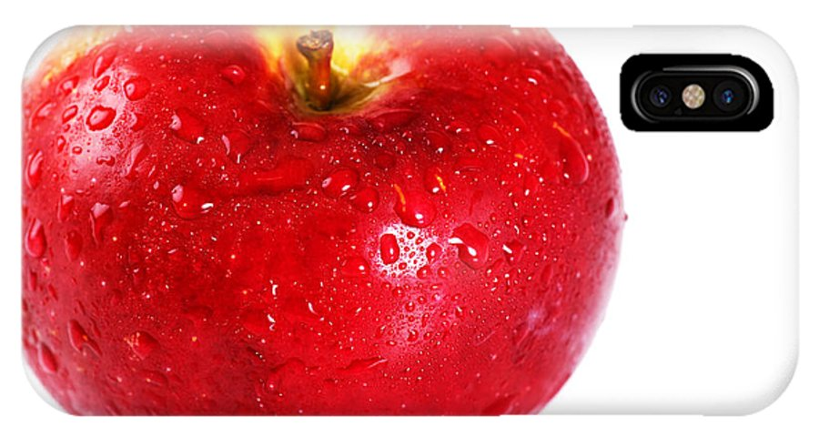 Red IPhone X Case featuring the photograph Bright Red Apple With Water Drops by Sylvie Bouchard