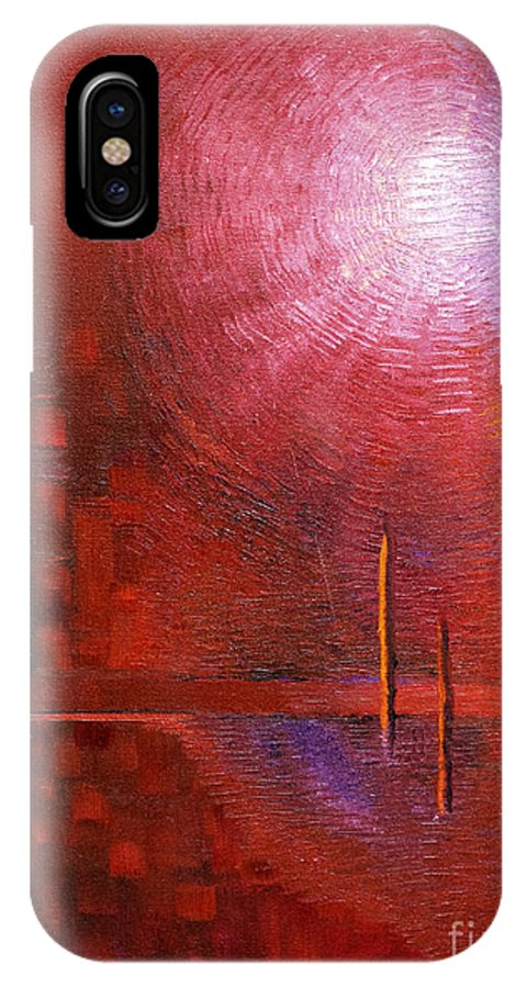 Abstract Painting Paintings IPhone X Case featuring the painting bright red modern abstract IN TOUCH WITH YOUR SOUL by Chakramoon by Belinda Capol