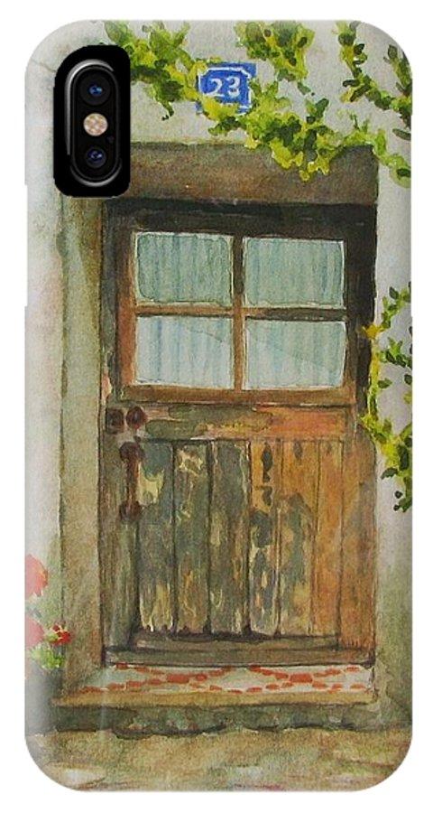 Door IPhone Case featuring the painting Brittany Door by Mary Ellen Mueller Legault