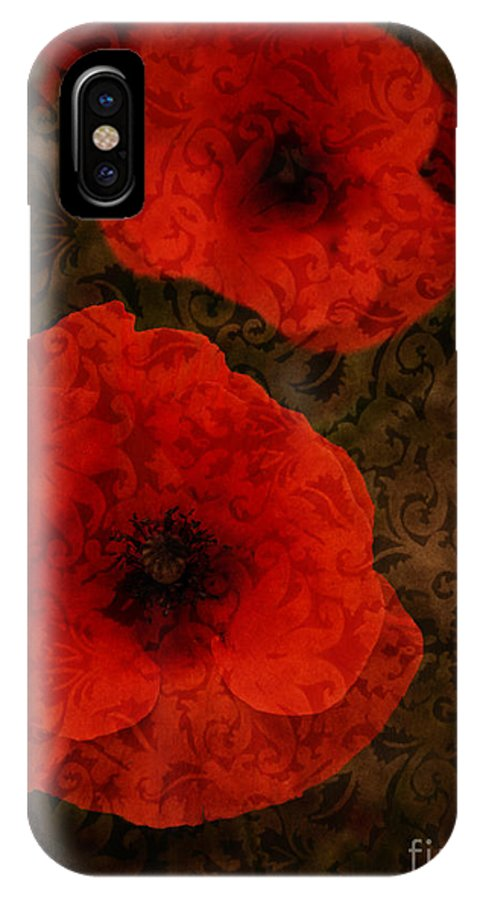 Textured Poppies IPhone X Case featuring the photograph Brocade Textured Poppies by Brothers Beerens