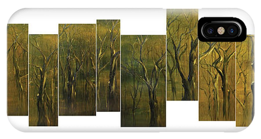 Trees IPhone X / XS Case featuring the painting Broken Forest by Kim Wild